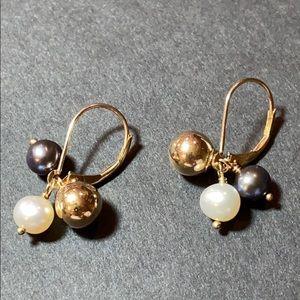 """10k Gold w/ Black Pearl Drop Pierced Earrings 1"""""""